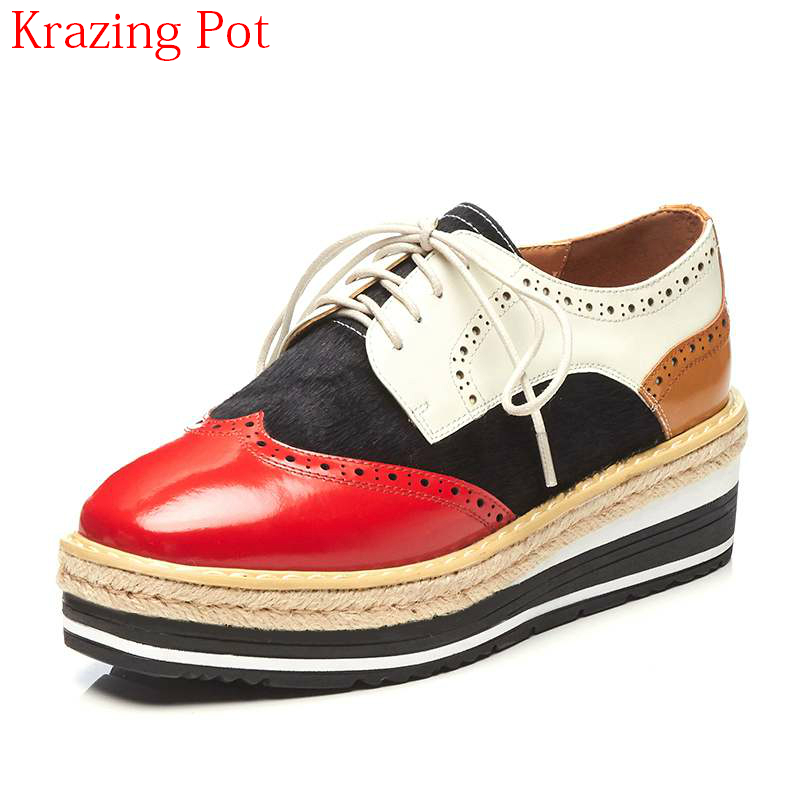 Brand Spring Shoes Genuine Leather Horsehair High Heels Casual Shoes Women Pumps Mixed Colors Lace Up Platform Oxford Shoes L13 brand new horsehair oxford shoes for women fashion lace up high top flat british style ladies shoes spring office