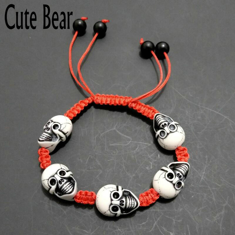 Cute Bear Brand Punk Style Acrylic Skull Bracelets Fashion Pure Hand Made Rope Braided Bracelets For Men Jewelry