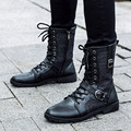 De Cuero de moda de Los Hombres Botas de mitad de la Pantorrilla Zapatos de punta estrecha Hebilla Martin Cargadores de La Motocicleta de Cuatro Temporadas Al Aire Libre Zapatos de Los Hombres Negros NSX59