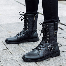 Fashion Leather Men Boots Mid Calf Outdoor Shoes Pointed toe Buckle Martin Motorcycle Boots Four Seasons Black Men Shoes NSX59