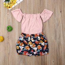 Toddler Kid Baby Girl Clothes Romper Tops Sunsuit Flower Short Pants+Ruffle Sleeve Pink Outfit 2Pcs Cute baby girl clothes