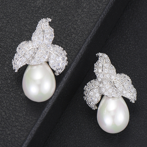 Image 5 - GODKI Spring Collection pendientes colgantes de perlas de imitación para mujer, de hoja, Perla de imitación para boda, pendiente de circonia cúbica a la moda de la India