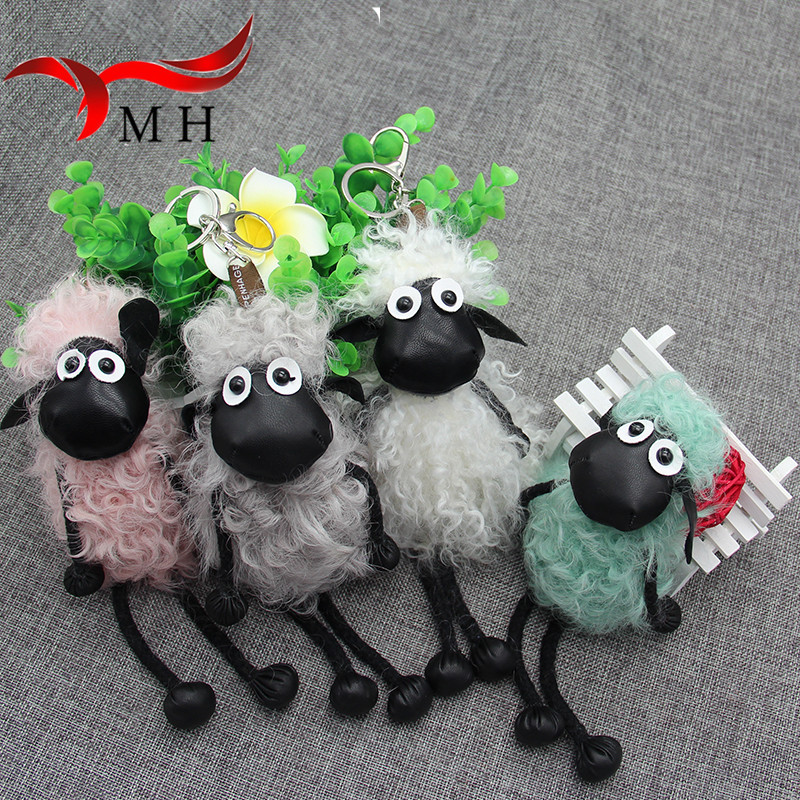 2016 new lambs wool fur real fur font b keychain b font bag doll ornaments cute