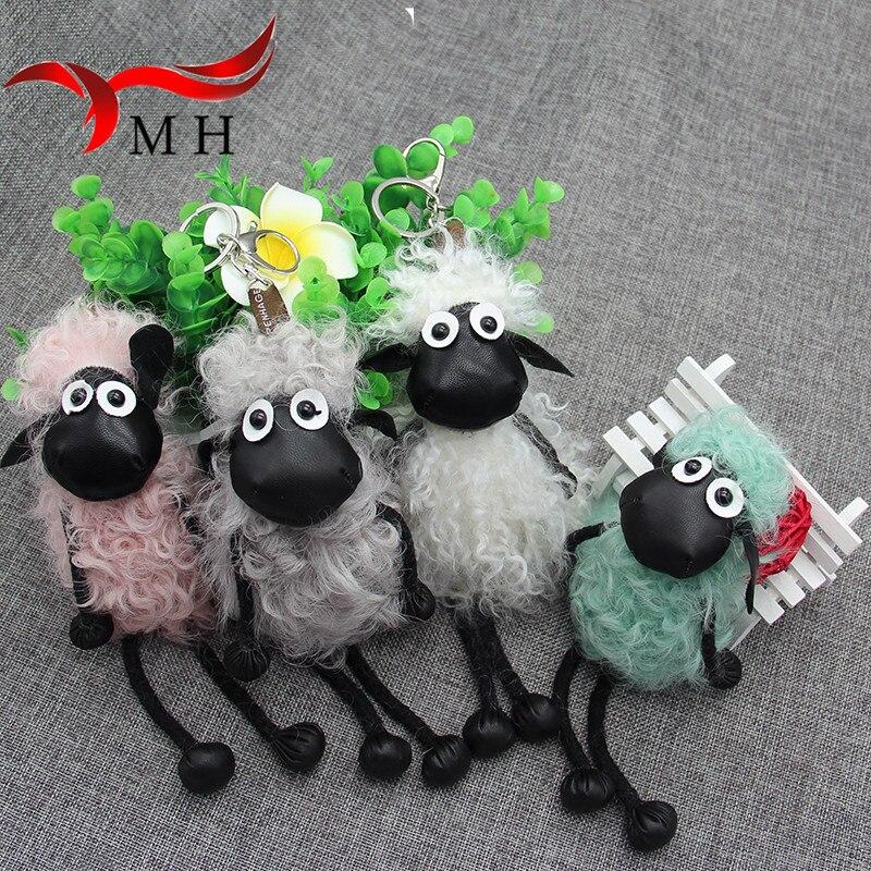 2016 new lambs wool fur real fur keychain bag doll ornaments cute Pom Pom Shaun the