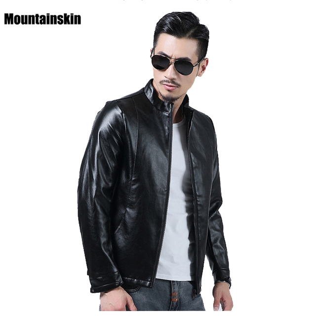 4XL, New Men's PU Leather Jackets Stand Collar Slim Fits Male Parkas Solid Motorcycle Leather Coats Fashion Brand Clothing SA124