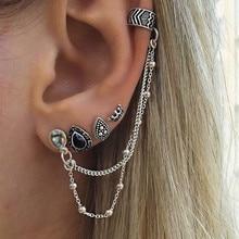 Vintage Set Earrings Bohemian Retro Style Four-piece Crown Water Droplets Chain Fashion For Women Oorbellen