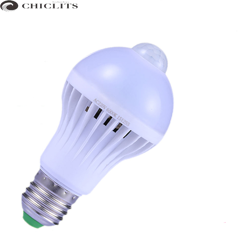 Led Motion Sensor Lamp Led Bulb E27 5w 7w 9w AC 220V Smart Bombillas Led Lamp IR Infrared Body Lamp with Motion Sensor Lights