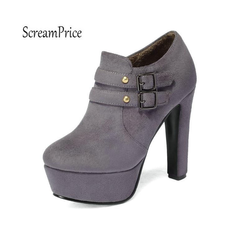 Haut Femmes Bottes La Nouveau Chaussures Noir Cheville D'hiver Femme gris Mode Noir Chunky À Talon Glissière Latérale Gris fvb7Y6gy