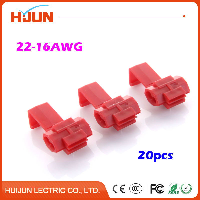 20pcs/lot Red Scotch Lock Quick Splice Connector Cable Joiner Crimp Terminal Soft Wire 0.5-1.5mm2 22-16AWG 50pcs k3 wire connector rj45 connector crimp connection terminal quick fit splicing waterproof wiring ethernet telephone cable