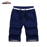 LiSENBAO 2017 Summer New Breathable Cotton Fabric Fashion Men Shorts Joggers Trousers Casual Beach Shorts Plus