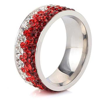 Women's Elegant Crystal Ring Jewelry Rings Women Jewelry Ring Size: 12 Main Stone Color: red