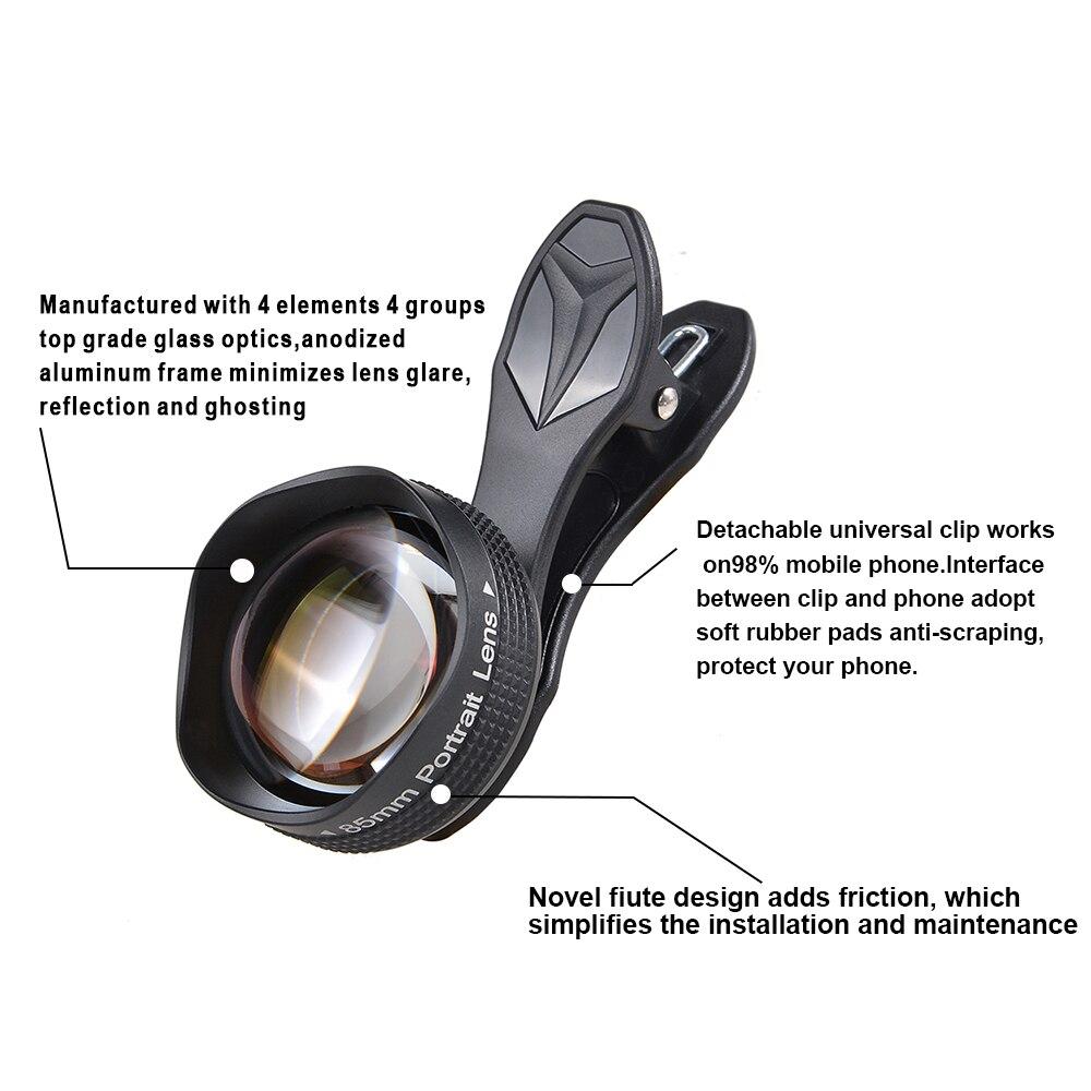 bilder für APEXEL handy-kamera lens kit 2017 neue 85mm super makro-objektiv professionelle HD super-makro lenskit für iPhone Xiaomi Samsung