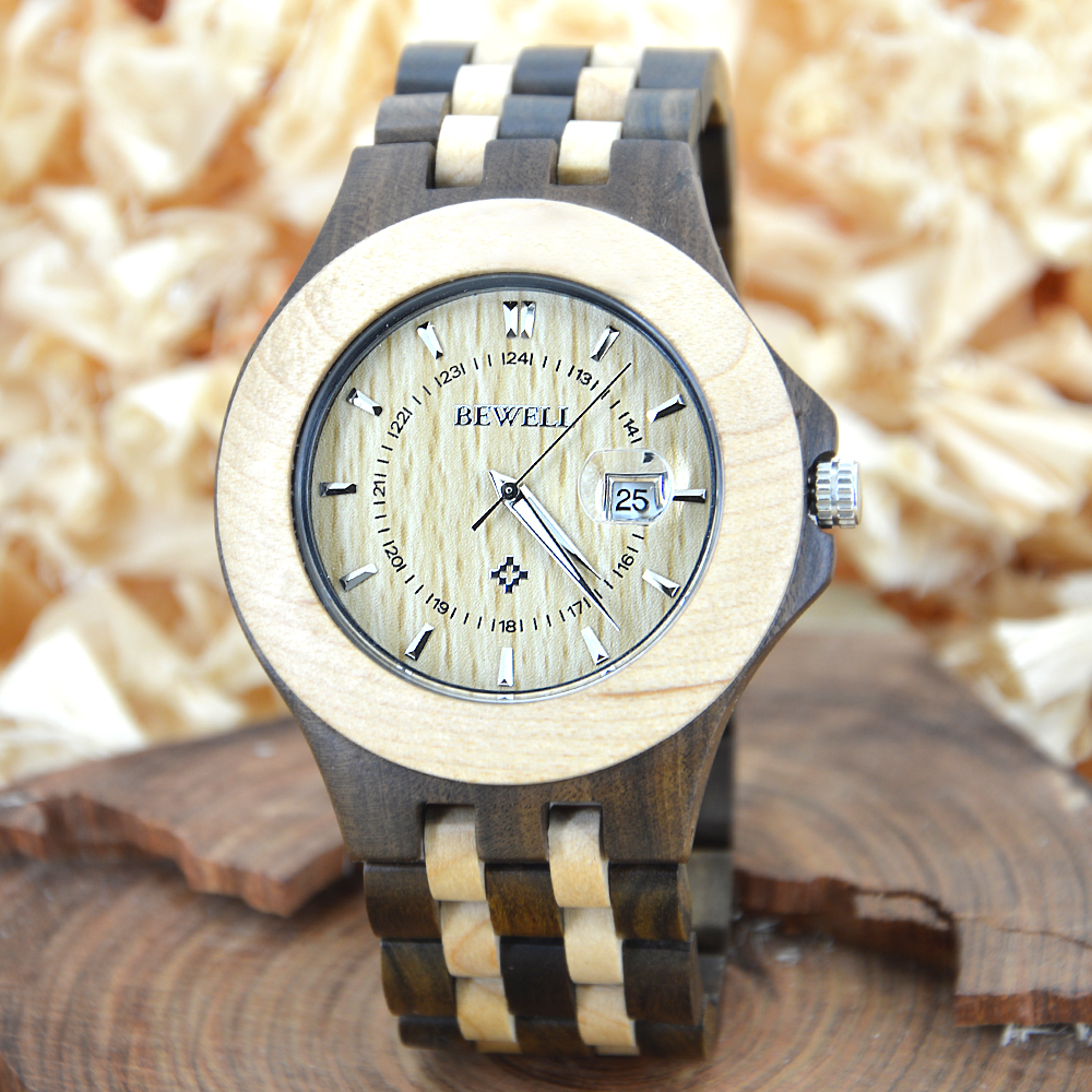 Подробнее о BEWELL Men Dress Watch Men Wooden Quartz Watch with Calendar Display Bangle Natural Wood Watches Gifts Relogio with Box 080A japan style men s watch natural wooden wristwatch wood quartz watch box nice gifts for men relogio masculino 2016 luxury brand