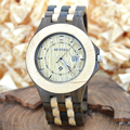 Bewell hombres viste el reloj hombres reloj de cuarzo con calendario de madera del brazalete relojes regalos relogio con caja de madera natural 080a