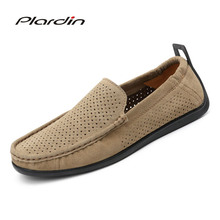 Plardin New Four seasons Fashion Man Split Leather soft Comfortable Casual cutouts Light loafers Slip On