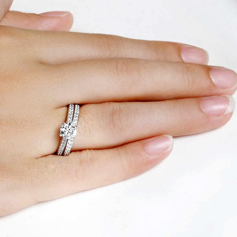 FUNIQUE 2019, conjuntos de anillos de cristal de Color plateado para mujer, exquisito Bijoux, conjunto de anillos de compromiso de boda de Zirconia cúbica, joyería