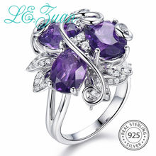 L&zuan 3 Pieces Natural Brazilian Amethyst Ring in 925 Sterling Silver Prong Setting Ring Purple Gemstone Flower Fine Jewelry(China)