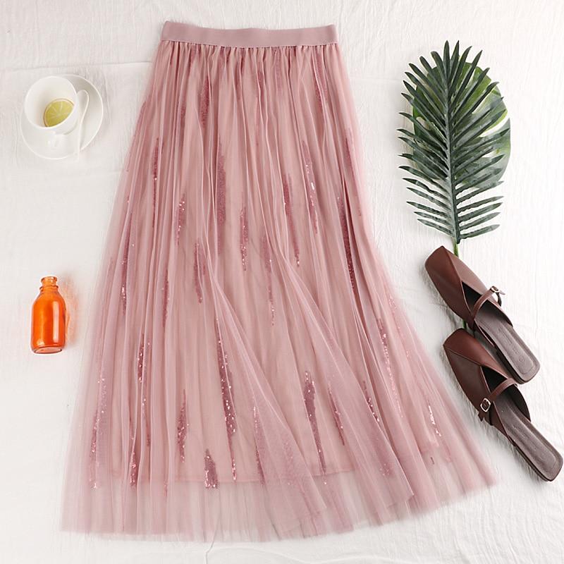 GTGYFF pink grey beige black elastic stretch high waist ladies vintage tulle Sequin skirt for women womens summer skirts saias