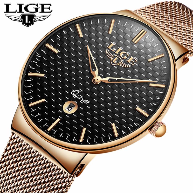 LIGE модные Для мужчин s часы лучший бренд класса люкс ультра тонкий кварцевые часы Для мужчин Сталь сетка ремень Водонепроницаемый спортивны