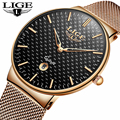 LIGE модные мужские часы Топ бренд класса люкс ультра тонкие кварцевые часы для мужчин стальной сетчатый ремешок водонепроницаемые спортивн...