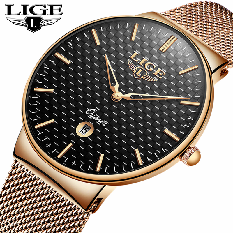 LIGE Fashion Mens Watches Top Brand Luxury Ultra Thin Quartz Watch Men Steel Mesh Strap Waterproof Sport Watch Relogio Masculino wwoor brand luxury mens watches waterproof ultra thin date clock male steel mesh silver sport men quartz watch relogio masculino