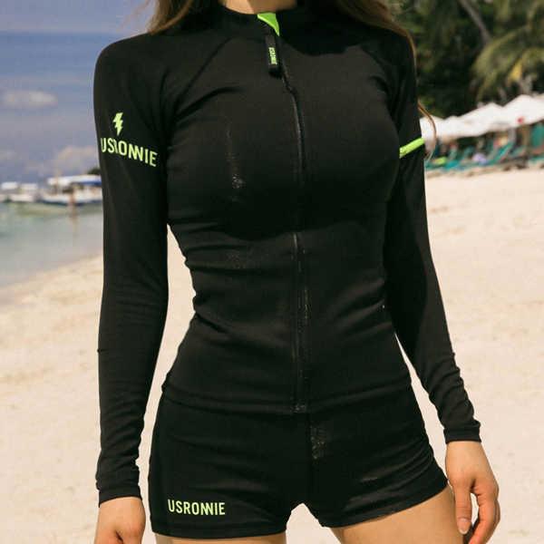 Sajak Wanita 2018 Wanita Baju Tiga Potong Pakaian Renang Gaya Baru Lengan Panjang K Berlaku Pelindung Matahari Baju Renang Pantai