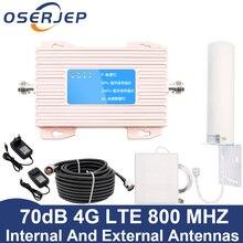 להקת 20 4G מגבר 800 DD אירופה טלפון נייד אות מאיץ 70dB טלפון סלולרי מגבר 4g lte 800mhz משחזר + 12dBi אנטנה
