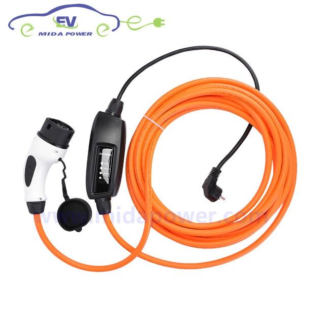 DUOSIDA 16Amp 10meter Type2 Mennekes Female EV Connector EU Schuko Plug IEC 62196 EVSE Cable Type 2 EV Charging Cable Car Side