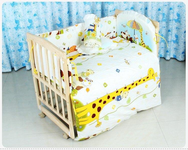 Promotion! 6PCS Best Gift For Baby Bedding Crib Sets Bedding Set (3bumpers+matress+pillow+duvet) 100*60/110*65cm