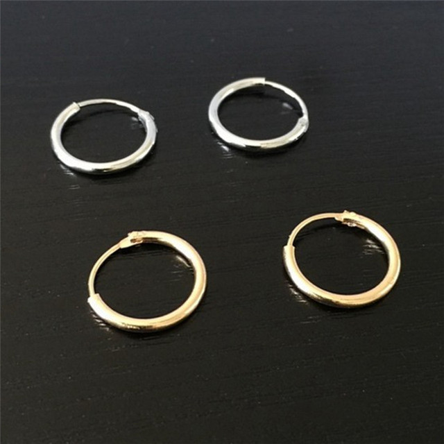 Punk Gold Silver Plated Small Hoop Earrings For Women Summer Round Men Fashion Jewelry