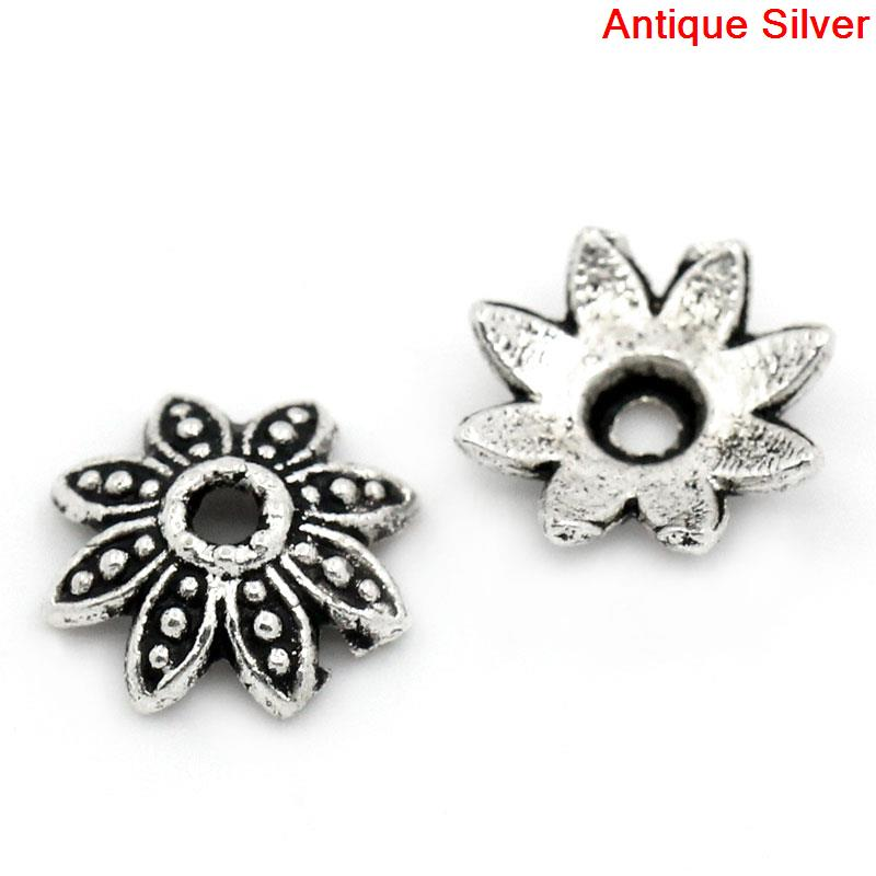 Bead Caps Flower Antique Silver(Fits 10mm-12mm Beads) 8x8mm, Hole:approx 1.3mm, 55PCs New