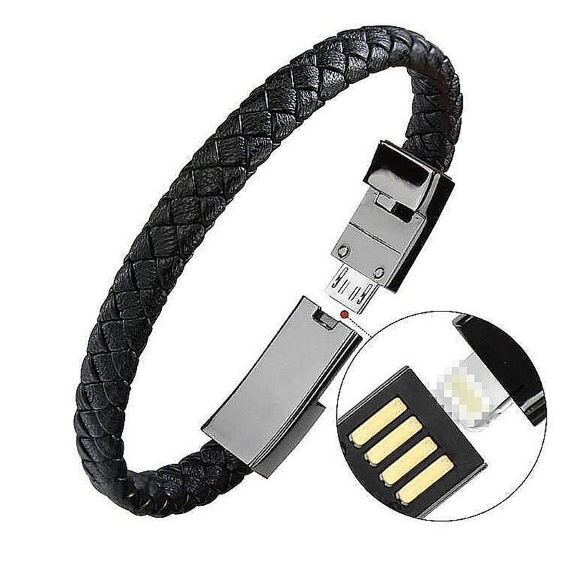Outdoor Tragbare Leder Mini Micro USB Armband Ladegerät Daten Ladekabel Sync Kabel Für iPhone6 6 s Android Typ- C Telefon Kabel