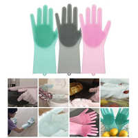Silicone Dishwashing Gloves Bathroom Kitchen Cleaning Gloves Housework Magic Gloves Cleaning For House Insulation Tools