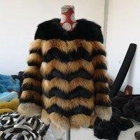 Новинка 2019 года; зимнее пальто с мехом лисы черного цвета; натуральный Лисий мех