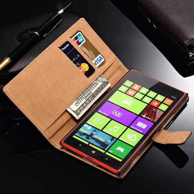 Wallet Flip PU Leather Case For Microsoft Nokia Lumia 1520 Cover With Card Holders Stand Design Phone Bag Coque Black