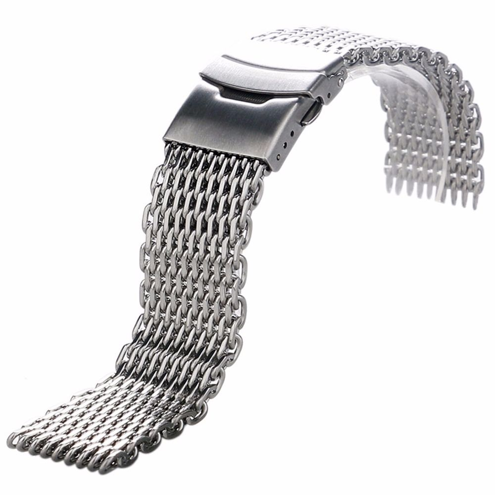 18mm,20mm,22mm,24mm Original Luxury Brand strap Link Double Clasp Silver Bracelet Wrist Band Stainless Steel Mesh WatchBand carlywet 22 24mm silver solid screw links replaceme 316l stainless steel wrist watch band bracelet strap with double push clasp