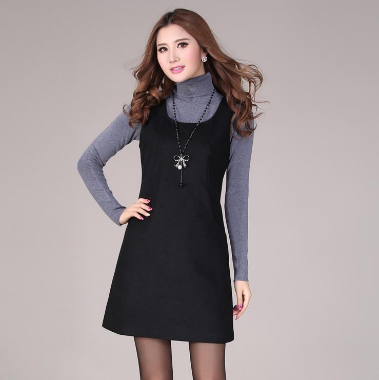 Free shipping 2016 Autumn winter casual sleeveless vest dress fashion girl one-piece fashion wool dress woman tank pocket dress
