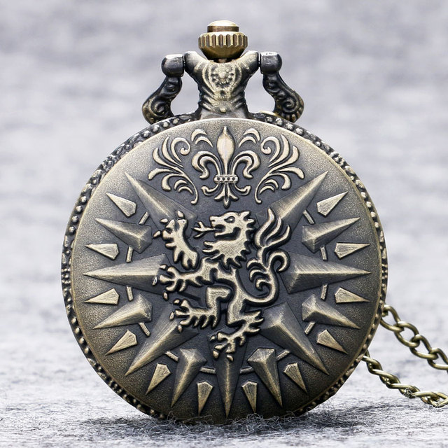 Game of Thrones Hear Me Roar LANNISTER Theme 3D Bronze Quartz Pocket Watch A Song of Ice and Fire Related Product Gift