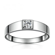 Diamond Men Solitaire Ring 18K White Gold 0.16ct H SI1 Round Natural Diamond Wedding Engagement Custom Ring