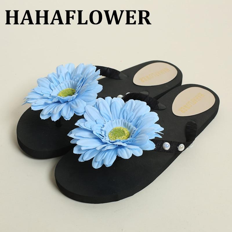 Hahaflower Beautiful Flip Flops Flat Heel Home Handmade -6088