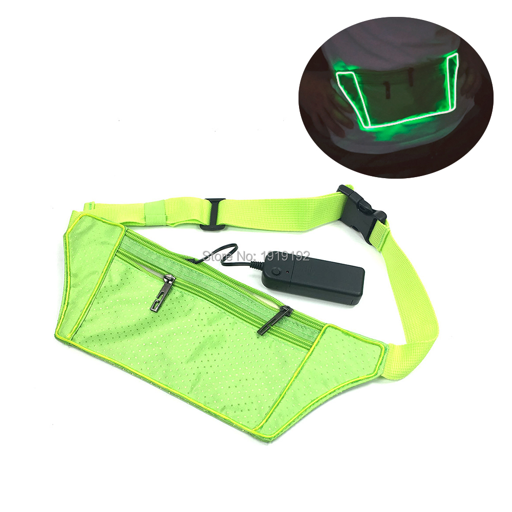 YUEHUI Men Male Casual Functional LED Fanny Bag Glowing EL Wire Waist Bag Money Phone Belt Bag for Party Decoration