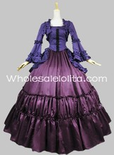 Freeshipping Adult Women Cotton Two Piece Victorian Gothic Steampunk Period Dress Gownparty Dress/party Costume