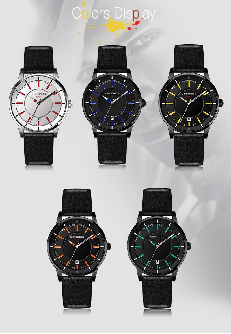 Reloj de los hombres de cuero genuino impermeable reloj de pulsera de - Relojes para hombres - foto 6