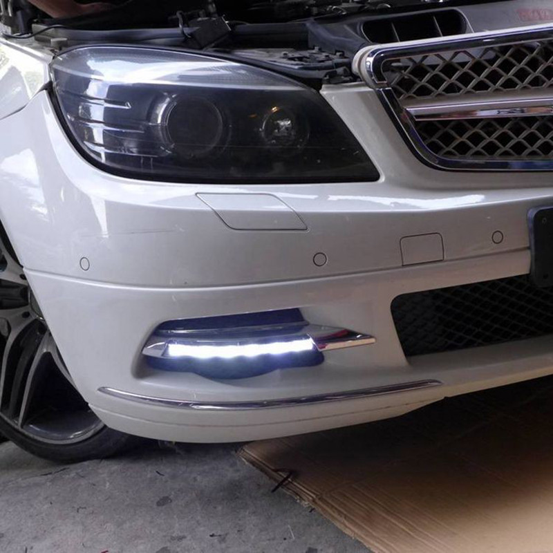 US $152 8 20% OFF|DRL For Mercedes benz W204 C180 C200 C260 C250 C300 2008  2009 2010 Daytime Running Lights Fog head Lamp cover car styling-in Car