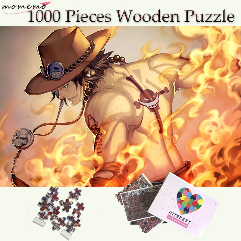 MOMEMO Anime One Piece Wooden Puzzle 1000 Pieces Portgas D. Ace Jigsaw Puzzles Toys for Adults Kids