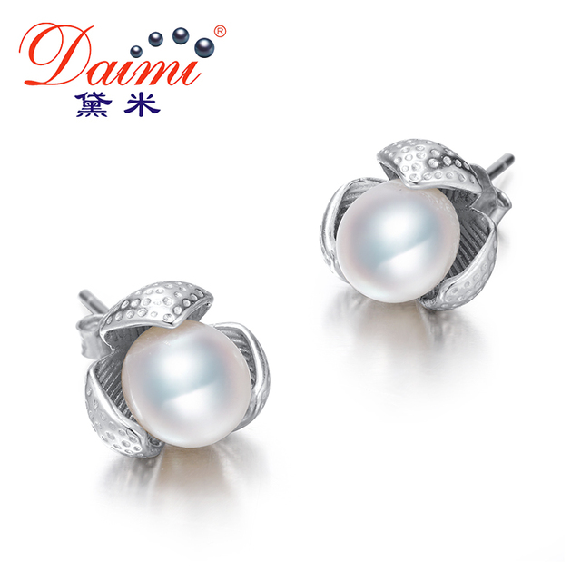 Daimi Lotus Pearl Stud Earrings About 7mm White Water Drop 925 Sterling Silver