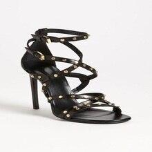 Schwarz Sexy Schuhe Für Frauen Ankle Kreuz Sandalen Dünnen Trägern nieten Spool High Heels Schnalle Damen Schuhe Für Sommer Party