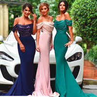Sexy Mermaid Bridesmaid Dress With Sequins New Fashion Cheap Boat Neck Floor Length Gorgeous Maid Of Honor Gowns