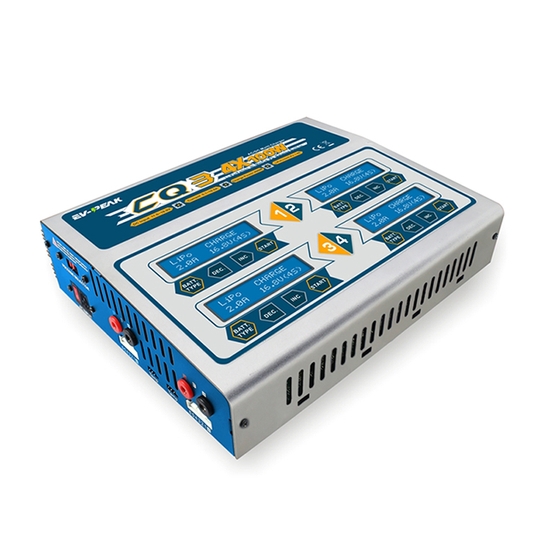 EV-PEAK CQ3 100Wx4 10A Four Channel RC Balance Lipo Battery Charger LiHV Life Nimh Nicd Battery Balance Charger Discharger цены онлайн