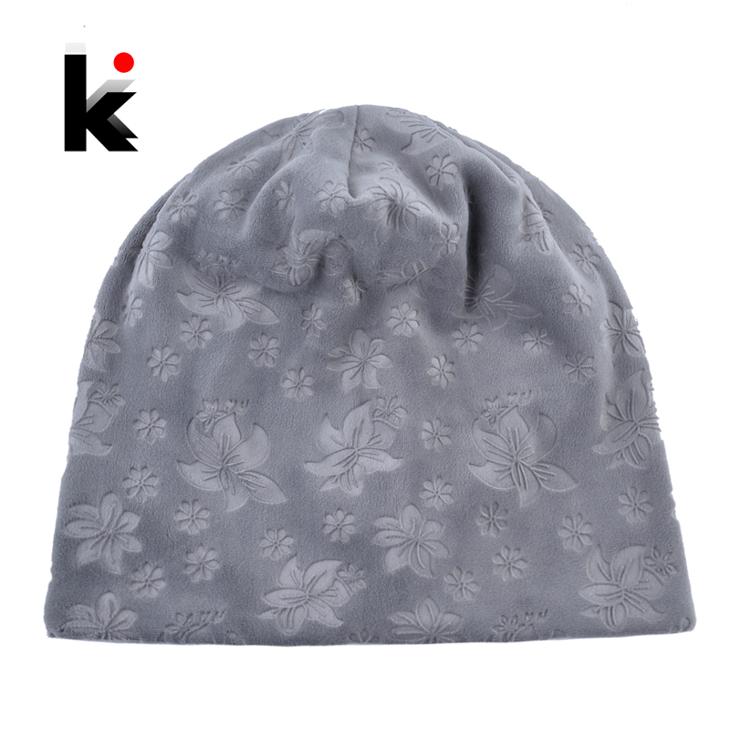 Autumn Winter Hats For Women Soft Embossing Flowers Bonnet Caps Ladies Double Layer Warm   Skullies     Beanies   Female Gorro Touca Hat